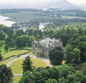 Arial view of castle with view of firth&hills