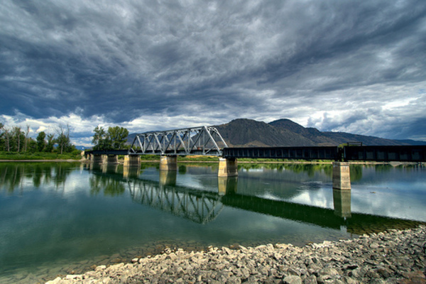 Kamloops Clouds & Bridge & River & Rocks & Hills &