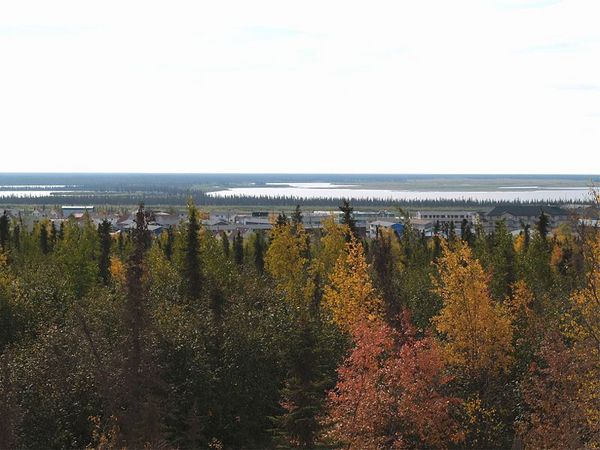 Overlooking Inuvik with the fall colors in the for