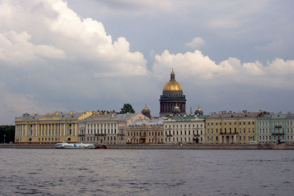 View of Neva River in Saint Petersburg.