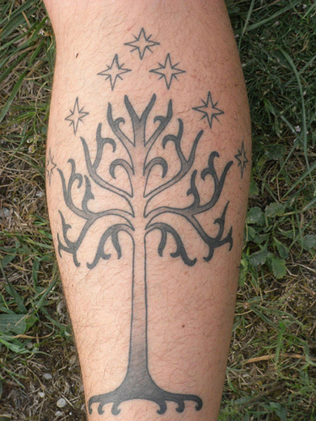 White tree of Gondor tattoo - calf